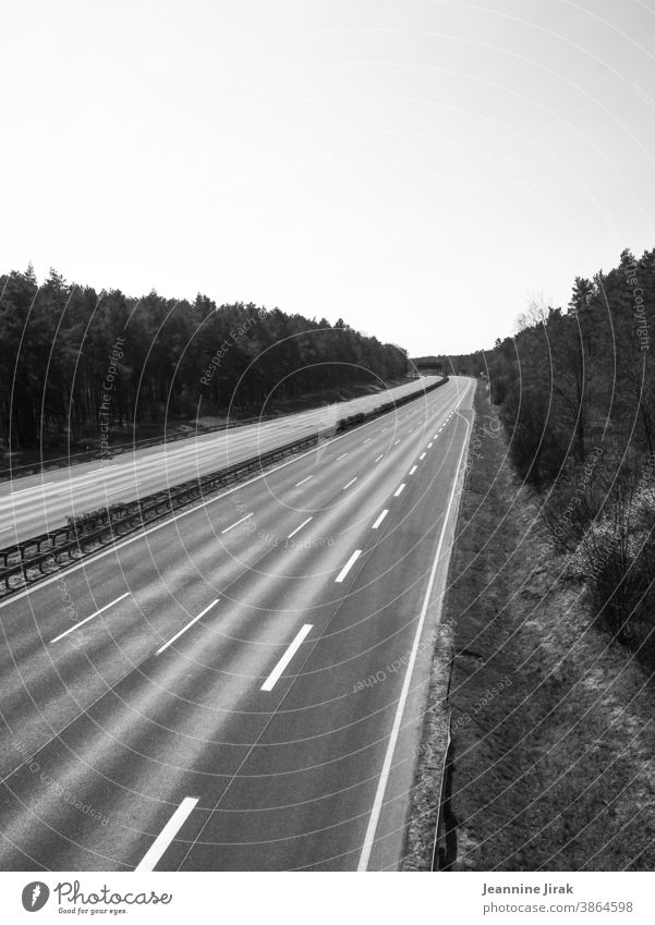 A9 motorway in lockdown Highway Traffic infrastructure Motoring Road traffic blocking Black & white photo Exterior shot tranquillity Climate protection Deserted