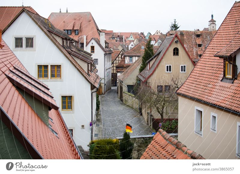 View into the old town Old town Historic Panorama (View) city view Town Architecture City trip Nördlingen Roofscape Alley Facade Gable roofs German flag Winter