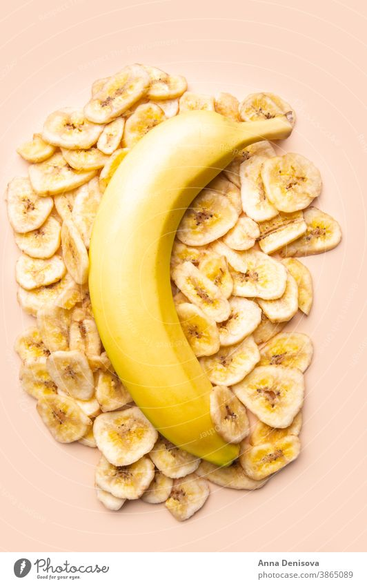 Healthy Snack from Banana Chips chips banana sweet snack healthy fried crisp sliced piece fruit diet ingredient dehydrated dry nutrition dried fruit