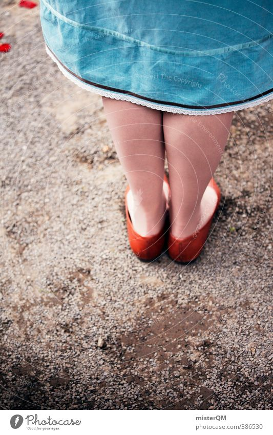 Point of view. Art Esthetic Contentment Feet Feet up Footwear Princess Brown Blue Skirt Girl Fashion Timidity Stand Legs 2 Unwavering Human being Perspective