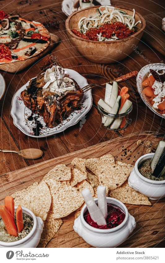 Delicious Mexican food on wooden table mexican food tortilla chip snack tasty tradition carrot cucumber fresh appetizer arrangement vegetable cuisine healthy