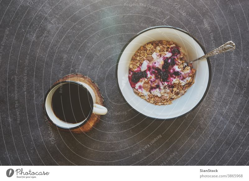 Breakfast with coffee and fruits background black light fresh plate breakfast morning day food textured flowing dipper sweet hot meal delicious tasty table