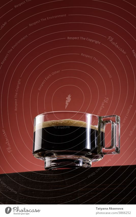 Black coffee in glass cup espresso black coffee mug drink beverage breakfast dark hot brown aroma caffeine