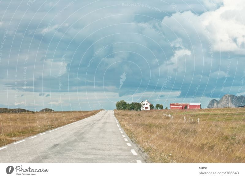 Sky Nature Vacation & Travel Old Summer Loneliness Landscape Calm Clouds House (Residential Structure) Environment Street Meadow Field Idyll Transport