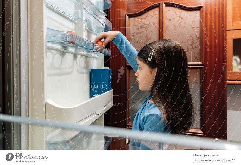 Sad girl taking an egg from the empty fridge unhappy poor refrigerator covid-19 crisis economic problems no food coronavirus kitchen people home aliment sad