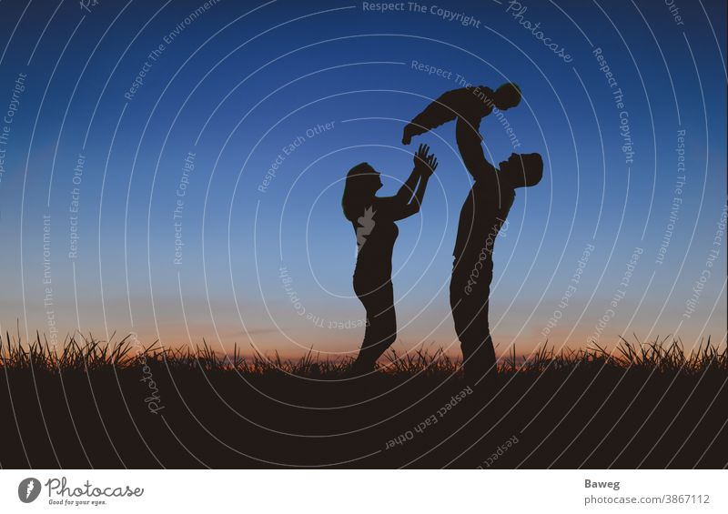 Silhouette of a family at sunset silhouettes time-out Tree Sunrise Sunset Family Woman Man Child Couple relation Matrimony relaxation free time Joy Peace Spring