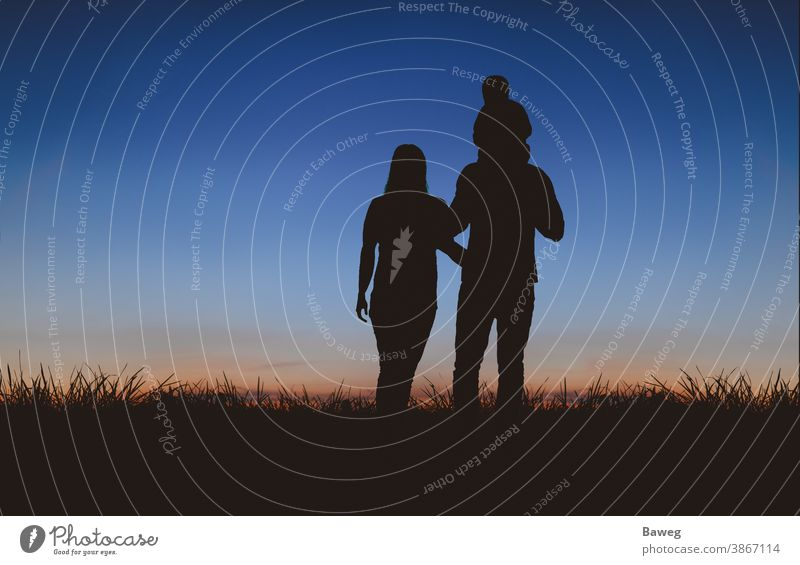 Family walking to the sunset Silhouette silhouettes time-out Tree Sunrise Sunset Woman Man Child Couple relation Matrimony relaxation free time Joy Peace Spring