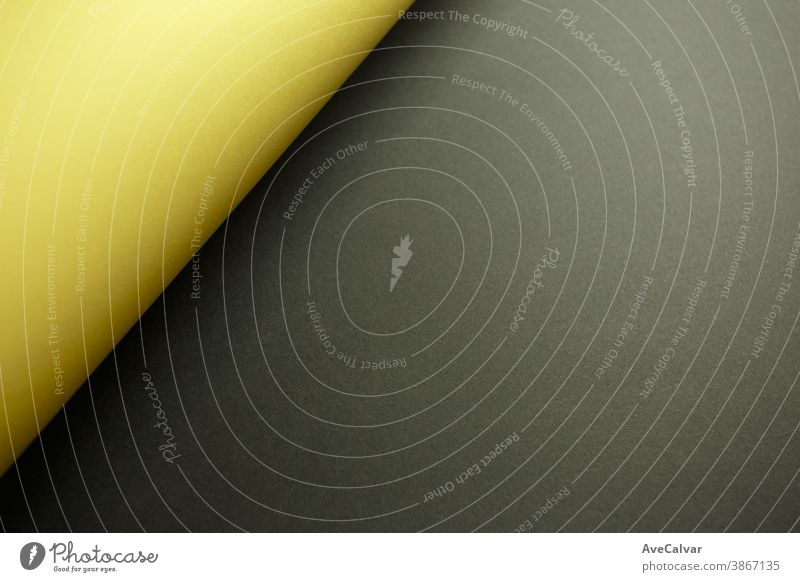 Yellow and black flat background with shadows and copy space to fill with a message faded horizontal layers parchment minimalism scroll sparse smooth simplicity