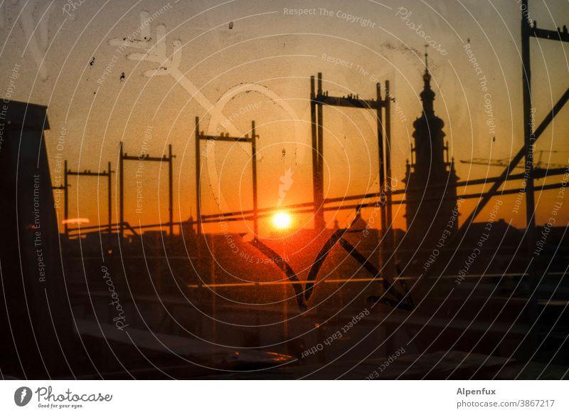 HAPPY BIRTHDAY PHOTOCASE Sunset sunset mood Evening Sky Twilight Slice Dirty Deserted Heart Love Colour photo Exterior shot Dusk evening mood Sunset sky