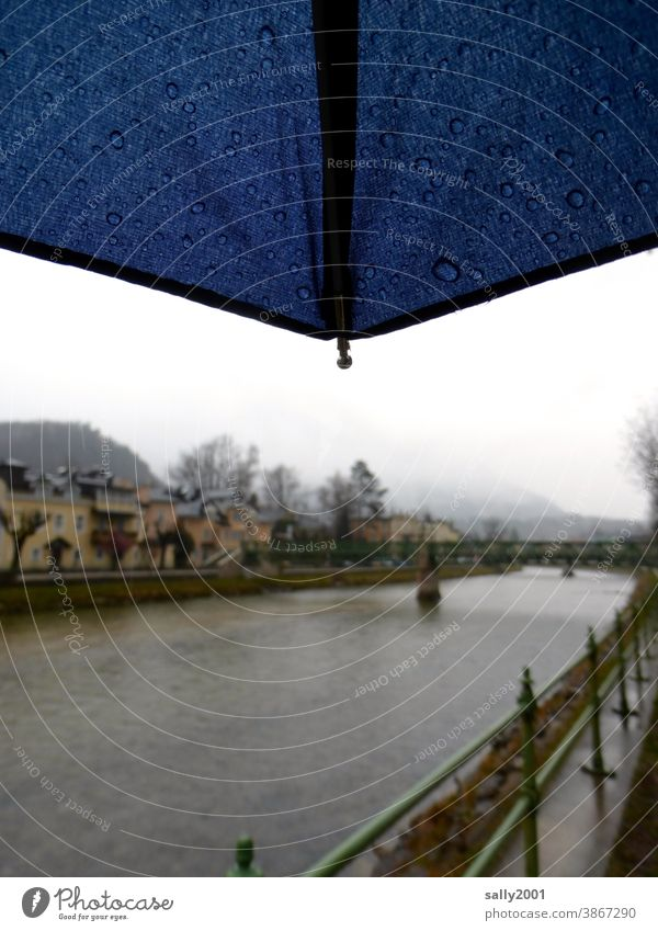 Winter by the river... Bad Ischl Traun River River bank Rain Umbrella Fog Bad weather Autumn Austria Gloomy Wet Dreary Calm Loneliness Cold Dark