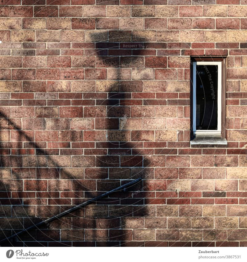 brick wall, shadow of a lantern, stairs and windows Shadow Lantern Stairs rail Banister Window Brown Auburn Black ascent Descent