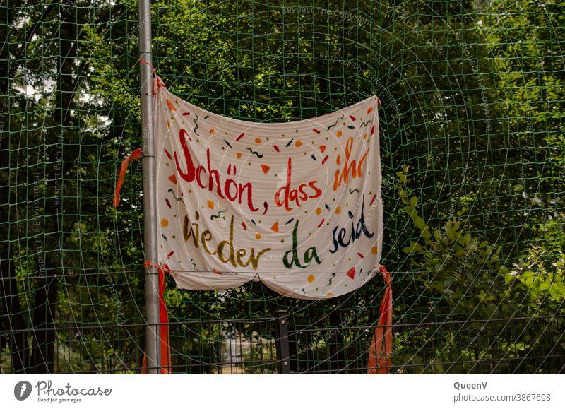 Banner in a school after the COVID lockdown covid-19 School Return to school Kindergarten Quarantine Quarantine period pandemic coronavirus prevention