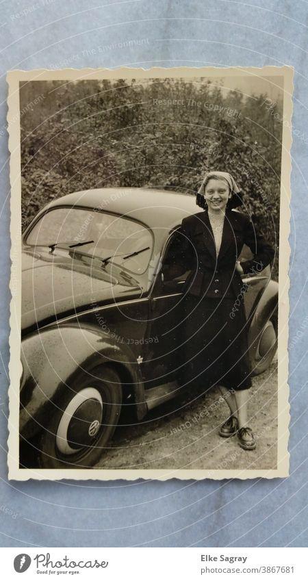 old photo woman with car Woman Exterior shot Vintage car Old Nostalgia Black & white photo