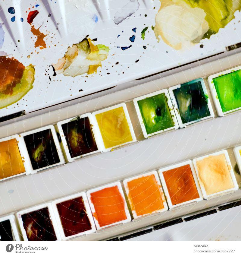 farbkombination | einmal mit allem! Farben Farbkasten Aquarellfarben Vielfalt malen Malkasten mischen Kreativität Kunst