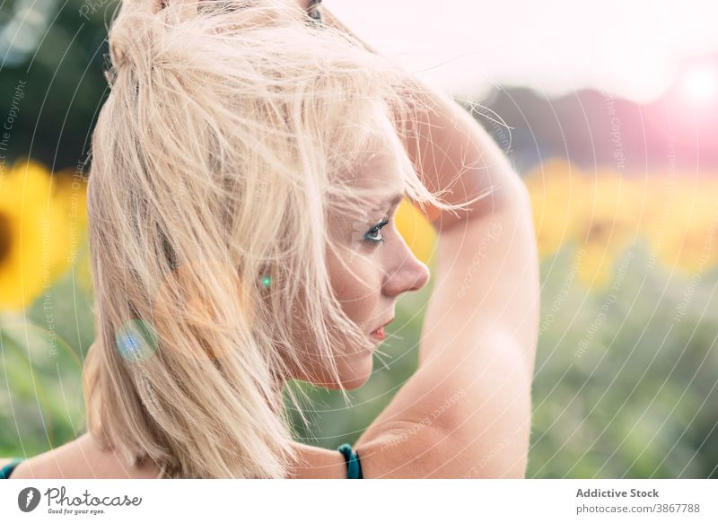 Sensual woman relaxing in sunflower field smell sensual blond thoughtful enjoy summer bloom hair nature positive young female blossom countryside fresh lady