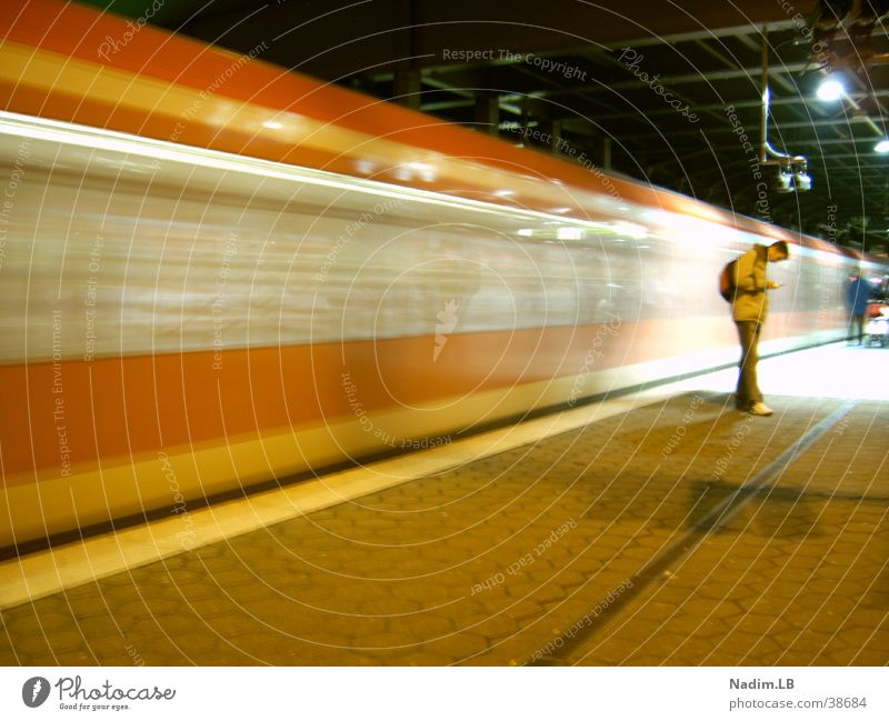 Hold the time Life Long exposure Commuter trains Hamburg Human being