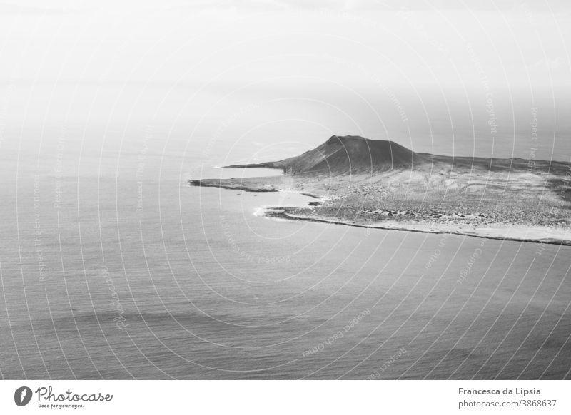 La Graciosa Lanzarote Canaries Island Ocean Black & white photo Volcano Desert Bird's-eye view coast Smooth Waves Exterior shot Vacation & Travel Landscape