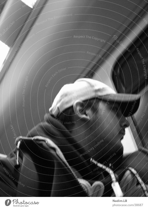 suburban train Commuter trains Man Black & white photo look out
