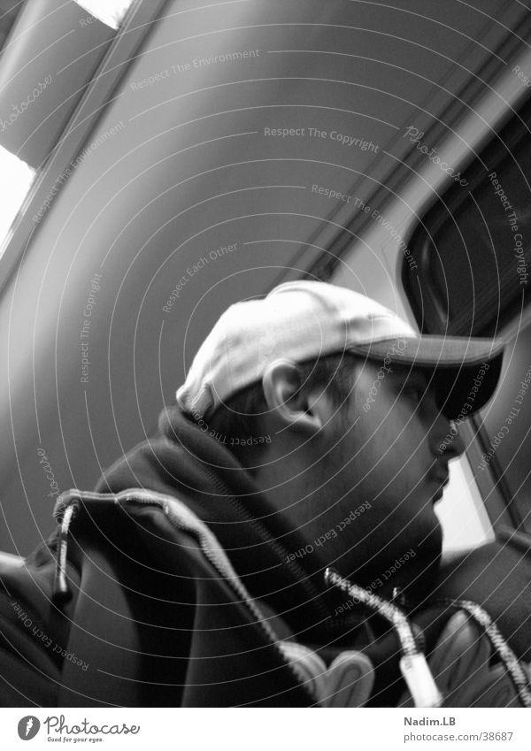 suburban train Commuter trains Man Black & white photo look out