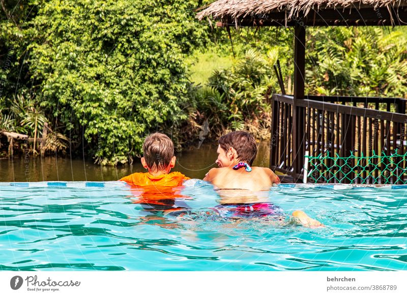 just drift Contrast Light Day Exterior shot Colour photo Swimming pool Joy Son Malaya Love Together Safety (feeling of) Trust Contentment Happiness Happy River