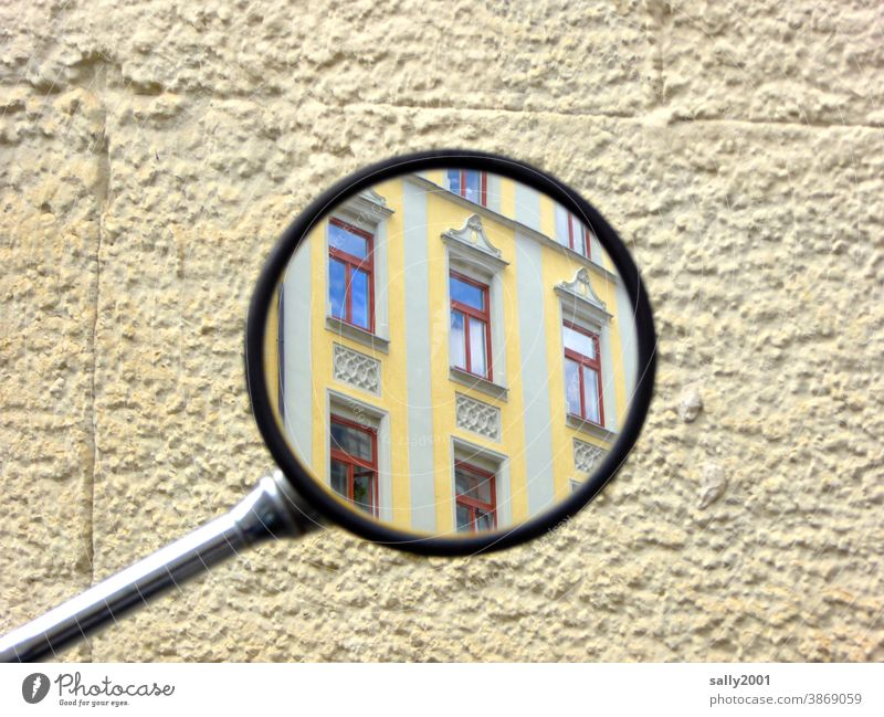 looking back... Mirror Rear view mirror House (Residential Structure) Building Facade Yellow Review in retrospect Observe house wall Window Round variegated
