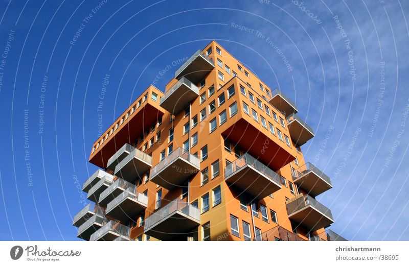 skyscraper House (Residential Structure) Balcony Style Architecture Orange