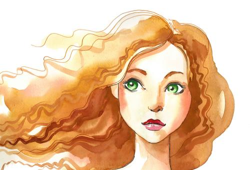 Pretty girl with green eyes. Ink and watercolor drawing woman female beauty lady . face character art artwork background illustration sketch ink