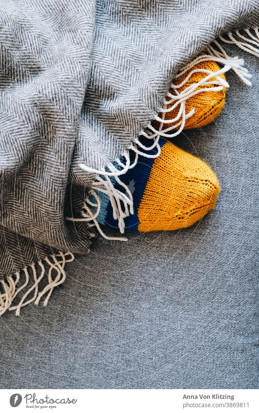 Wool socks Knit Blanket warm Winter cuddly Gray Striped Yellow Knitted feet Warmth Soft Handcrafts Colour photo Interior shot Knitting pattern Wooly