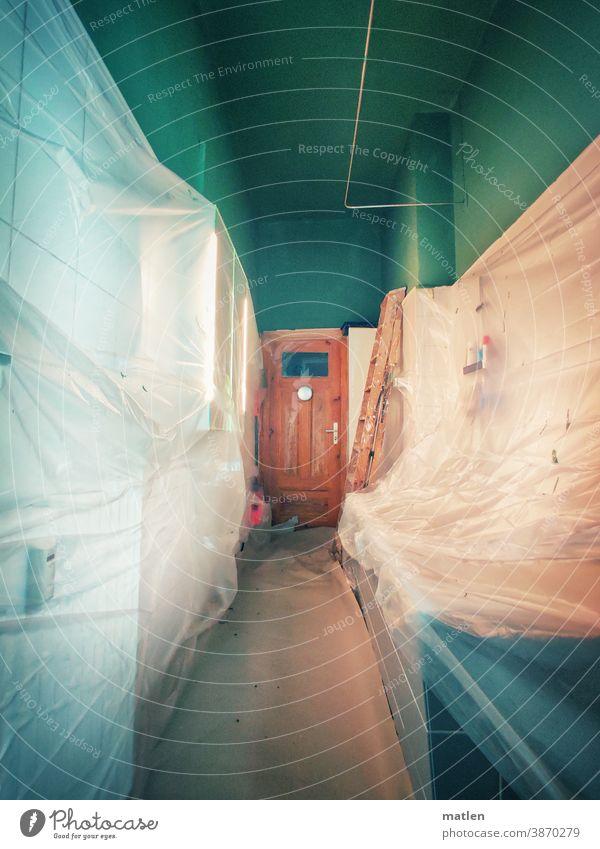 concealment Bathroom Old building Packing film Renovation Green Brown White mobile Deserted Interior shot