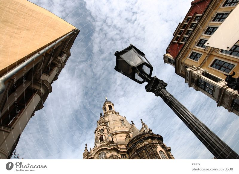 Church from below Dresden Dresden Church of Our Lady Saxony Frauenkirche Landmark Historic Old town Building House (Residential Structure) Lantern Facade