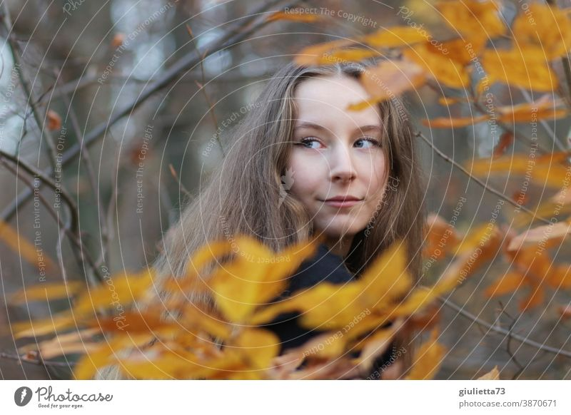 Portrait of teenage girl in autumn forest teenager 15-20 years old November Autumnal leaves Puberty Emotions Long-haired Youth (Young adults) Life