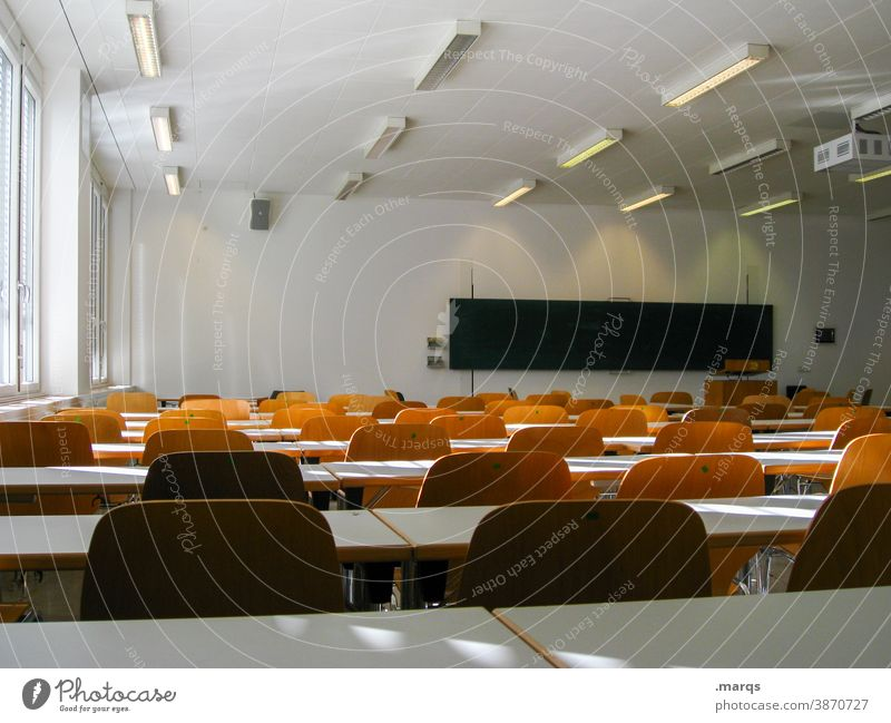 empty classroom School Classroom chairs Blackboard Education Lessons Empty Study study Academic studies university doctrine Light Shadow Lecture hall