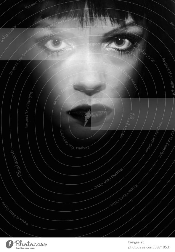 Woman in black and white with graphic elements portrait Black & white photo Black-haired White Gray people Face emotion Smokey eyes Eyes Human being Nose Mouth