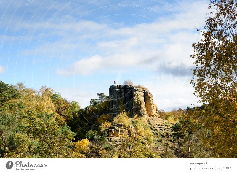 Male person stands on the Klus rock and looks down Klusberge Mountain Klusfelsen male person Tourist Landscape Adventure Trip Autumn sandstone rocks Outdoors