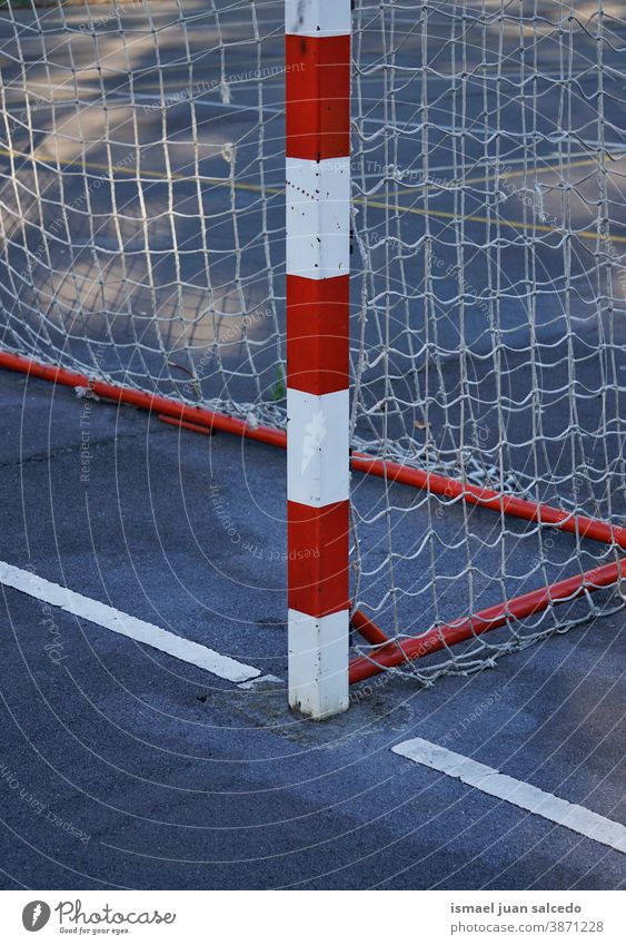 soccer street goal sports equipment soccer goal rope net web street soccer field play playing abandoned old park playground outdoors broken background bilbao