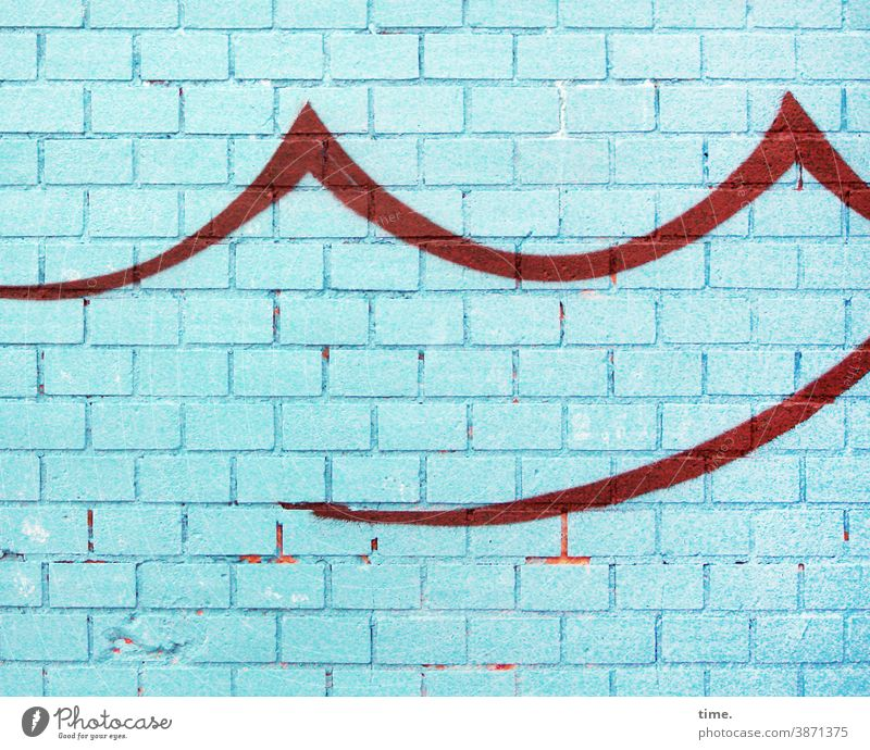 Art on building | Making waves Wall (barrier) Wall (building) Brick Turquoise Blue Undulation Red Drawing graffiti Colour stylized Trashy Stone sharpen Swing