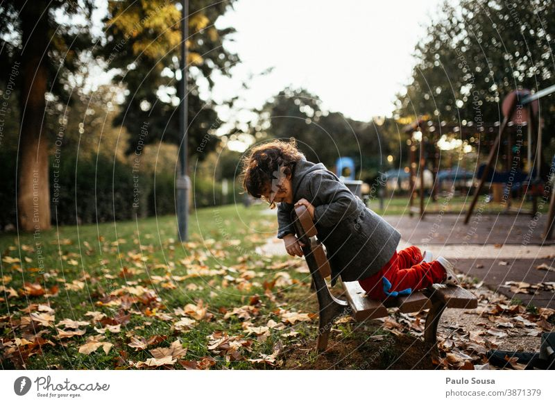 Child playing at the park Autumn Authentic Autumn leaves Autumnal fall Park Girl Nature Autumnal colours Exterior shot Leaf Colour photo Autumnal weather