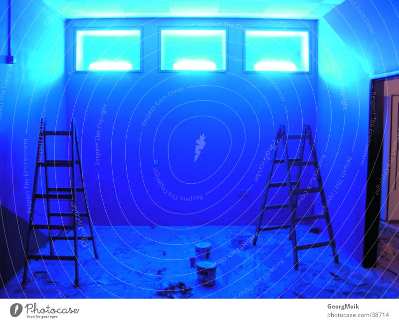 windows Light Warning light Window Photographic technology Blue Room Painting (action, work) stepladder 3 three Lighting lights paint