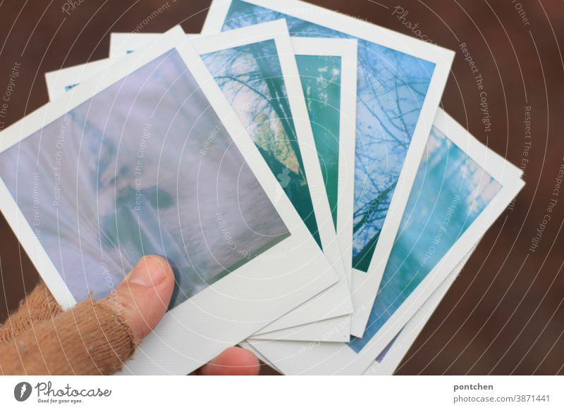 Six polaroids in one hand with gloves. Pastel colors stop Hand Gloves six pastel Photography Analog Memory Sentimental Nostalgia amass