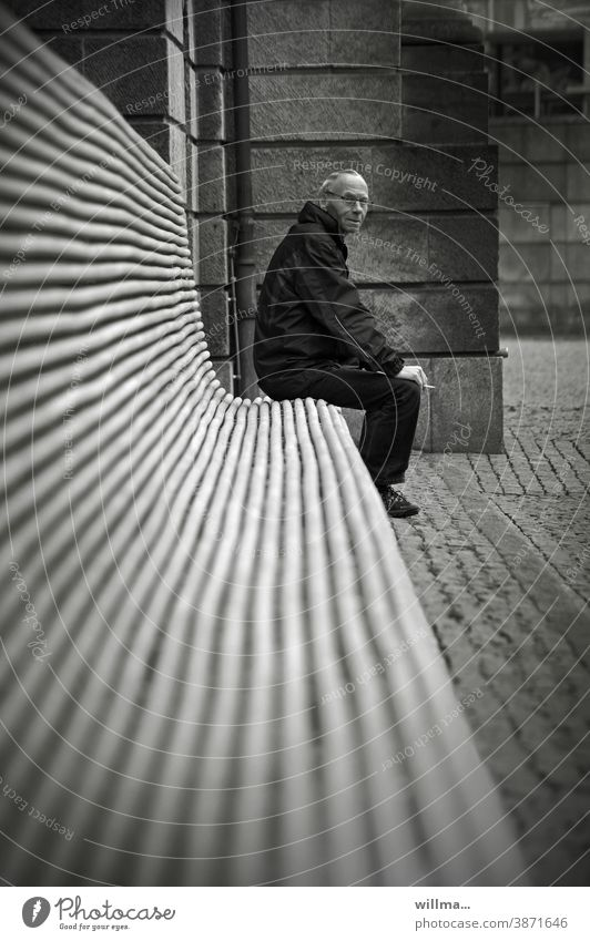 the search for proximity... Bench on one's own Loneliness Man long bench Sit Decency Senior citizen Lonely Bank details Edge stool gap loner