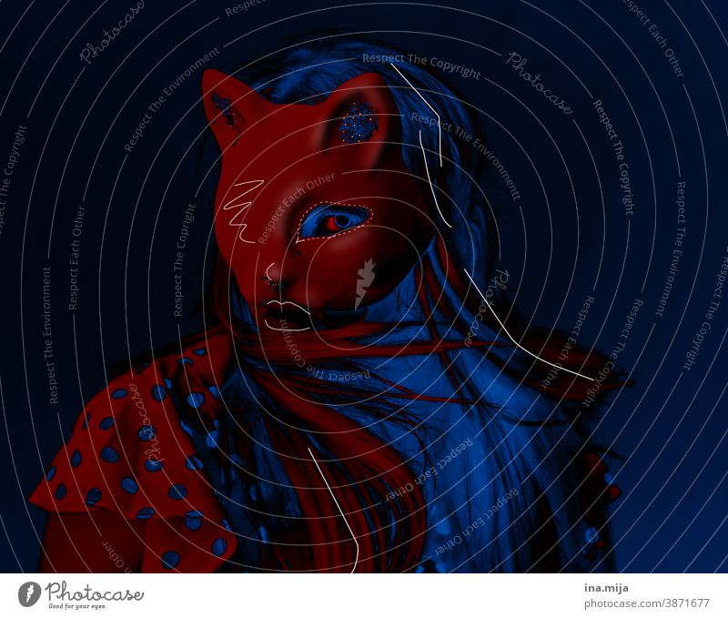 Meow II Artist Actor Stage play Surrealism Identity Dream world Cat Colour Femininity Hip & trendy Face Animal Man Party Red Blue Mask cat mask Cat person