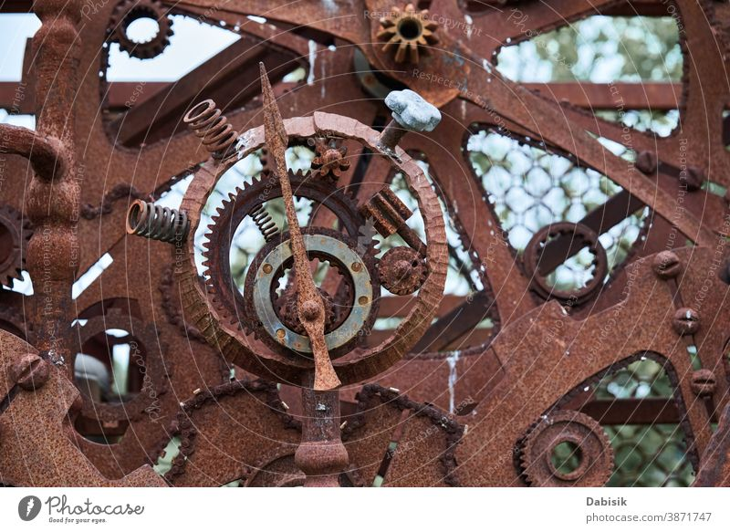 Rusty iron mechanical parts and gear wheels. Steampunk texture steampunk machine circle rusty vintage metal machinery steel background industrial old metallic