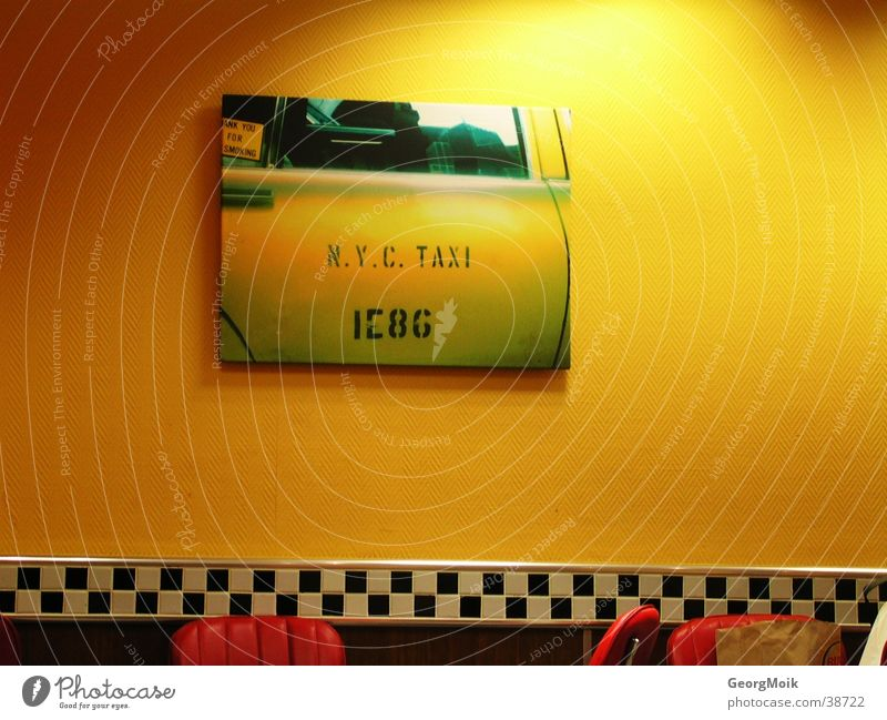 White Calm Black Yellow Style Car Bright Image Living or residing Tile England Taxi Checkered Fast food restaurant Public transit