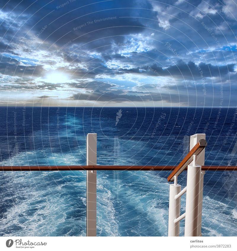 Rear wave   only who drives away somewhere, can arrive somewhere else Atlantic Ocean ocean Water Blue Waves rear wave ship Stern parapet rail Glass Foam