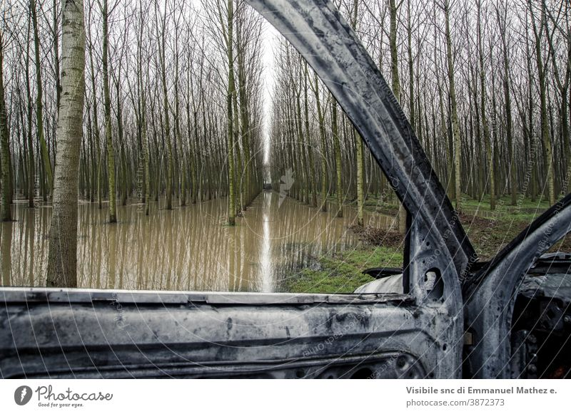 flooded poplar grove view from window burnt out car abandoned danger smoke fire accident trouble hot flammable pollution rubbish vandalism land vehicle
