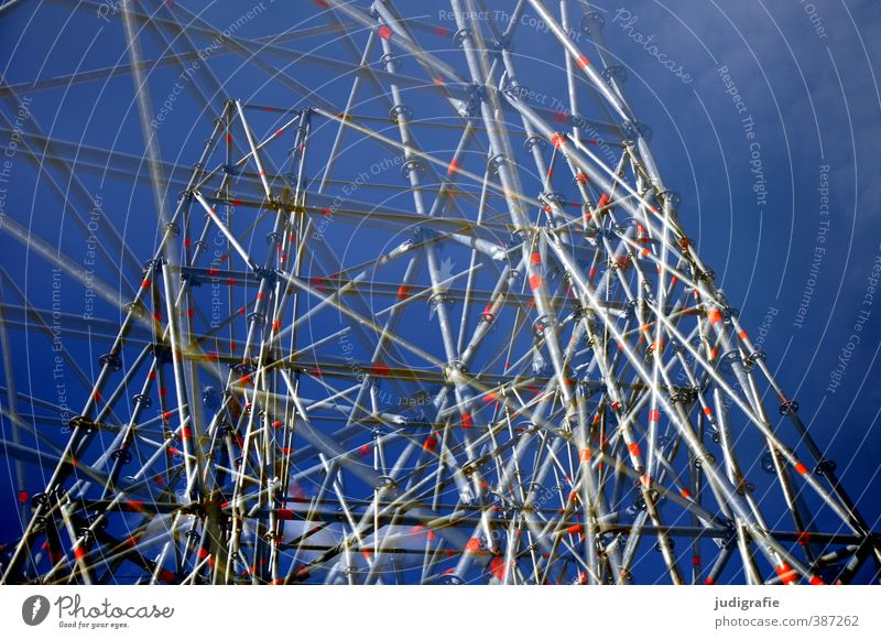 confused Technology Town Manmade structures Metal Net Network Exceptional Trashy Crazy Blue Scaffolding Untidy Colour photo Exterior shot Deserted Day