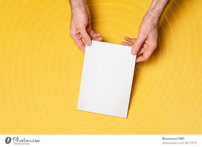 Male hands holding a closed book-catalog with blank cover on yellow background mock-up editable change brand paper document male advertising business content