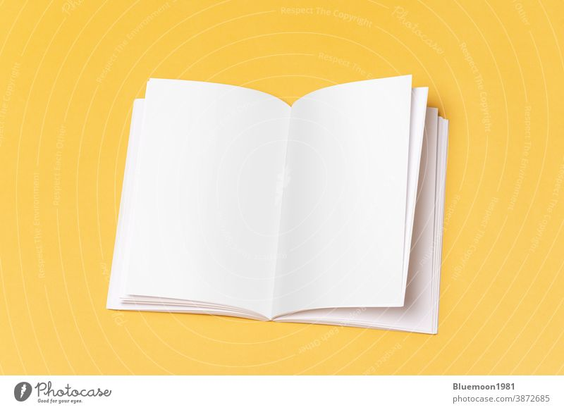 Opened book-catalog with blank pages on yellow background mock-up editable change brochure brand paper document booklet advertising business content corporate