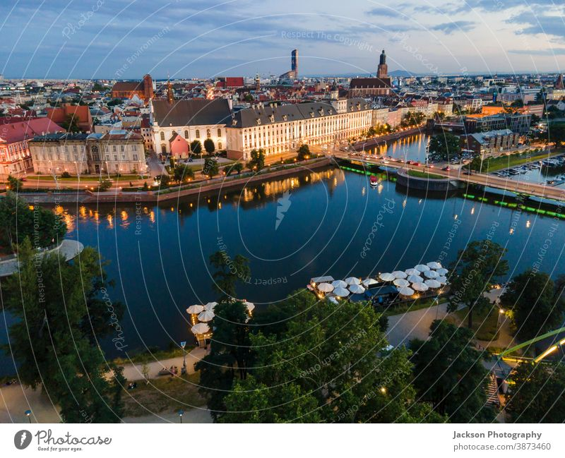 Aerial view of Wroclaw located by Odra river, Poland wroclaw poland cityscape aerial afternoon evening island wrocław from above buildings downtown oder place