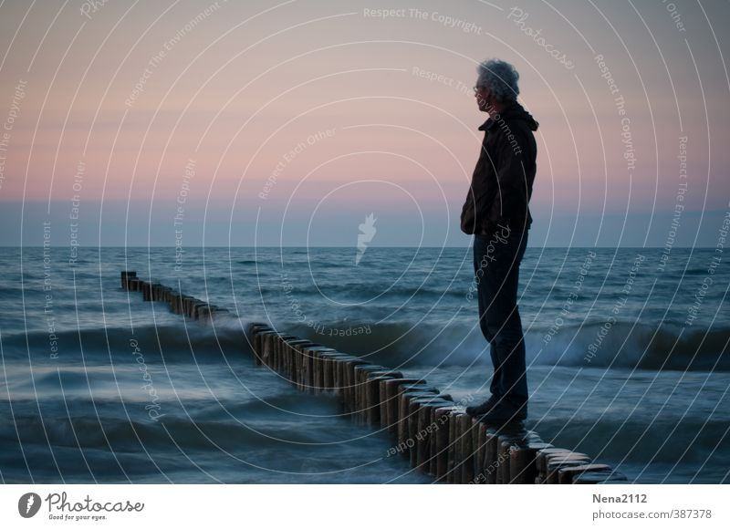 wanderlust Masculine Body 1 Human being 30 - 45 years Adults 45 - 60 years Environment Nature Landscape Elements Water Beautiful weather Waves Coast North Sea